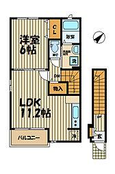 神奈川県鎌倉市常盤の賃貸アパートの間取り