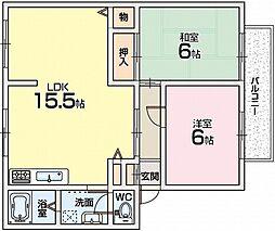 サンアレイ下野3[2階]の間取り