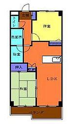 神奈川県横浜市青葉区美しが丘4丁目の賃貸マンションの間取り