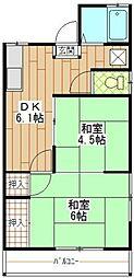 アクアハイム 2階2DKの間取り