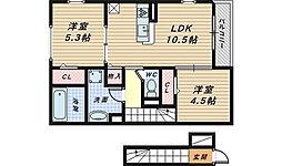 クレール・シャンブル[2階]の間取り