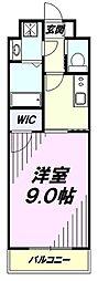 JR青梅線 昭島駅 徒歩1分の賃貸マンション 2階1Kの間取り