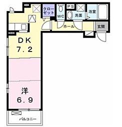クレメントI 1階1DKの間取り