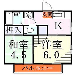 埼玉県川口市芝高木1の賃貸アパートの間取り