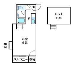 福岡県福岡市早良区百道1丁目の賃貸アパートの間取り