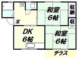 埼玉県所沢市東町の賃貸アパートの間取り