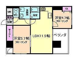 ノルデンハイム江坂アドバンス[5階]の間取り