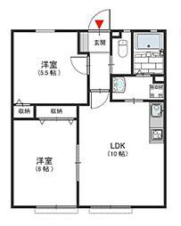 南海高野線 三日市町駅 徒歩12分の賃貸アパート 1階2LDKの間取り