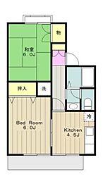 神奈川県相模原市緑区上九沢の賃貸アパートの間取り