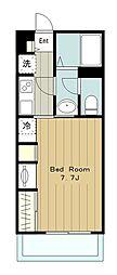 小田急江ノ島線 東林間駅 徒歩12分の賃貸マンション 1階1Kの間取り