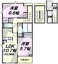 JR青梅線 河辺駅 徒歩17分の賃貸アパート 3階2LDKの間取り