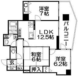 メロディーハイム香里ヶ丘ツインビューベガタワー[12階]の間取り