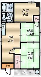 大阪府堺市堺区北清水町3丁の賃貸マンションの間取り