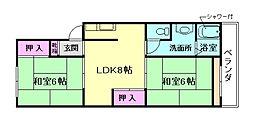 大阪府豊中市中桜塚4丁目の賃貸マンションの間取り
