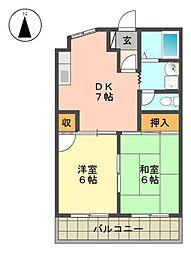 愛知県長久手市杁ケ池の賃貸マンションの間取り