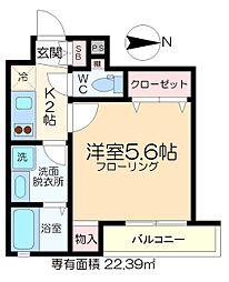 深川YKマンション 2階1Kの間取り