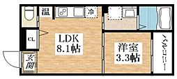 SHIN Krios(シン クリオス ) 3階1Kの間取り