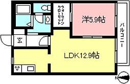 京王線 多磨霊園駅 徒歩10分の賃貸アパート 2階1LDKの間取り