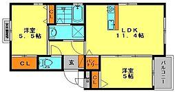 プランドール鶴田 2階2LDKの間取り