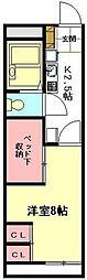 JR高崎線 北本駅 徒歩21分の賃貸アパート 1階1Kの間取り