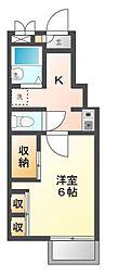 愛知県豊橋市前芝町字堤下の賃貸アパートの間取り