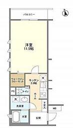 西麻布SBMマンション 地下2階1Kの間取り