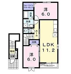 埼玉県東松山市あずま町1丁目の賃貸アパートの間取り
