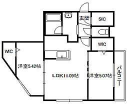 NOBLESSE札幌南6条(ノブレス)[206号室]の間取り