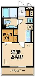 京王相模原線 京王永山駅 徒歩9分の賃貸アパート 2階1Kの間取り