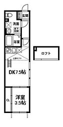東京都杉並区南荻窪4丁目の賃貸アパートの間取り