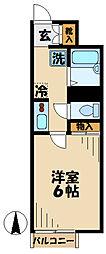京王相模原線 京王多摩センター駅 徒歩18分の賃貸アパート 1階1Kの間取り