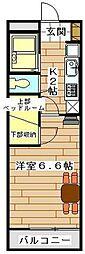 レオパレスYAMAZAKI 34547 1階1Kの間取り