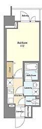 東京メトロ有楽町線 江戸川橋駅 徒歩1分の賃貸マンション 7階1Kの間取り
