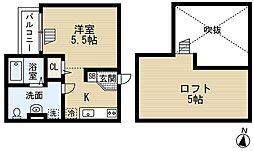 JR阪和線 鳳駅 徒歩5分の賃貸アパート 1階1Kの間取り