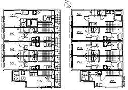 京王井の頭線 浜田山駅 徒歩8分の賃貸アパート 2階ワンルームの間取り
