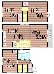 [一戸建] 東京都大田区中央3丁目 の賃貸【/】の間取り