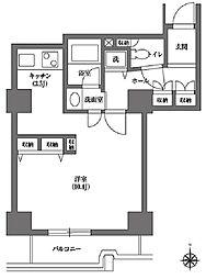 文京グリーンコート ビュータワー本駒込 11階ワンルームの間取り