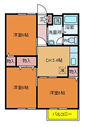 東武野田線 豊四季駅 徒歩5分の賃貸アパート 2階3DKの間取り