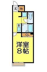 東武越生線 東毛呂駅 徒歩12分の賃貸アパート 2階1Kの間取り