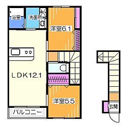 ベルビュー田園 2階2LDKの間取り