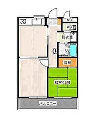神奈川県横浜市港南区港南1丁目の賃貸マンションの間取り