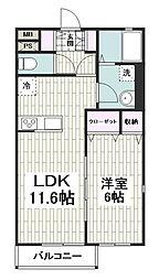 相鉄いずみ野線 いずみ野駅 徒歩18分の賃貸アパート 1階1LDKの間取り