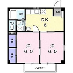 愛知県豊川市川花町2丁目の賃貸アパートの間取り