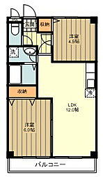 JR五日市線 秋川駅 徒歩10分の賃貸マンション 1階2LDKの間取り