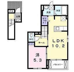 埼玉県鶴ヶ島市新町1丁目の賃貸アパートの間取り