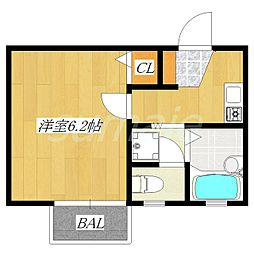 東京都北区浮間2丁目の賃貸アパートの間取り