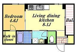 (仮)北栄3丁目ベレオ[2階]の間取り