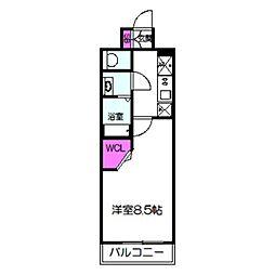 ワールドアイ京橋NORD 7階1Kの間取り