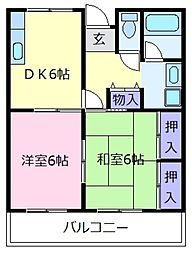 大阪府松原市三宅中6丁目の賃貸マンションの間取り