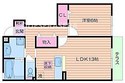 ハイツ東野II 1階1LDKの間取り